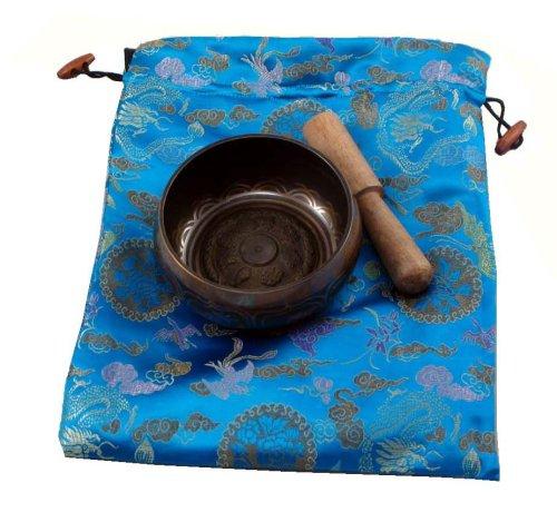 Tibetan Singing Bowl with Blue Silk Bag Gift Set