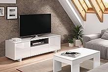 Comprar Habitdesign 0G6631BO - Mueble de comedor tv moderno , Color blanco brillo y ceniza, dimensiones 150 cm x 47cm x 41 cm de fondo