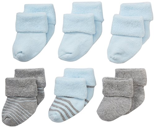 Nuby Baby Girl Infant/Newborn 6-Pack Super Soft Terry Sock Booties, 0-6 Months, Blue/Grey