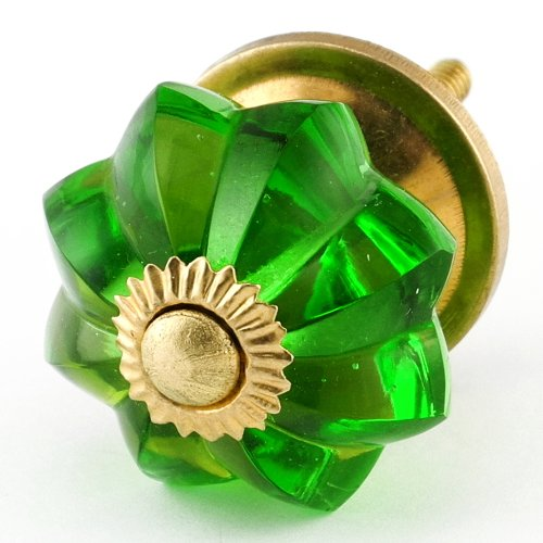 Emerald Green Glass Cabinet Knobs 4Pc Cupboard Drawer Pulls & Handles ~ K59 Old Emerald Green Melon Style Glass Knobs With Polished Brass Hardware ~ Glass Knobs, Handles & Pulls For Dresser, Drawers, Cabinets & Vanity front-1072691