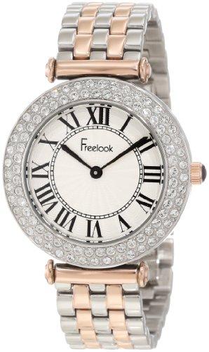 Freelook Women's HA1944RG-2 Silver/Rose Gold Band Silver Case White Face Swarovski Bezel Watch