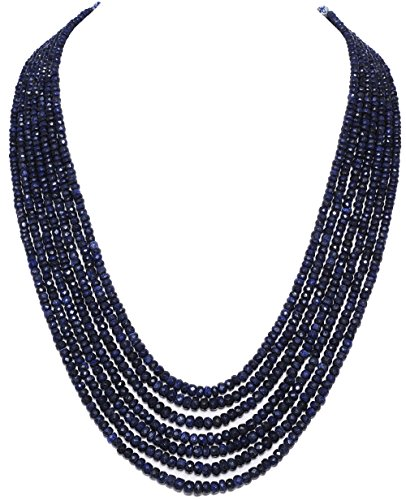 7 Rows of African Blue Sapphire Gemstone Bead Necklace Silk Tassel Attached