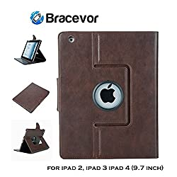 Bracevor Premium Leather Smart Case for Apple iPad 2, iPad 3, iPad 4 (9.7 inch): Auto Sleep/Wake, Rotating Stand, Flip Cover - Executive Brown