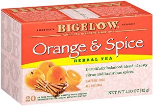 Bigelow Orange & Spice Herbal Tea, 20-Count Boxes (Pack of 6)