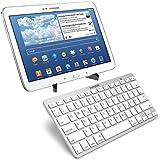 kwmobile Schnurlose Bluetooth Tastatur mit deutscher QWERTZ Tastatur in Weiß für Samsung Galaxy Tab 4 10.1 T530 / T531 / T535 + praktischer Universal Tabletständer aus Kunststoff