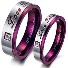 buy Fate Love His & Hers Unique Mysterious Purple Design Stainless Steel Matching Couple Rings Set Wedding Bands
