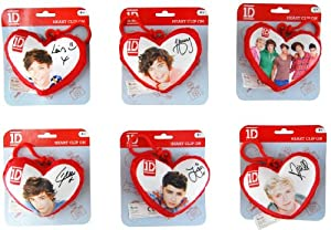 1D One Direction Plush Heart Back Pack Clip Set Of 6 by Commonwealth