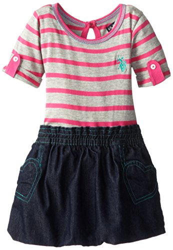 U.S. Polo Assn. Baby-Girls Infant Knit Top With Bottom Denim Bubble Hem Dress, Heather Grey/Pink, 12 Months