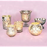Luna Bazaar Glam Mercury Glass Tea Light Candle Holders (Silver, Set of 6) - For Home Decor and Wedding Decorations