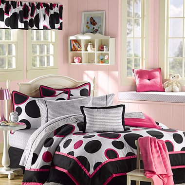 Black & Hot Pink Polka Dots Teen Girls Twin Comforter Set (10 Piece Room In A Bag)