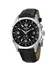 Vulcain Aviator Dual Time Men's Black Leather Strap Mechanical Alarm Watch 100133.212LF