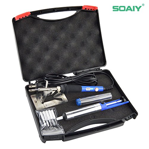 Best Price 6-in-1 Electric Soldering Iron Kit, SOAIY® 60W Adjustable Temperature Welding Soldering ...