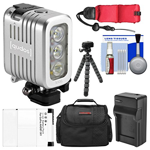 Knog Qudos Action Camera LED Video Light (Silver) with Case + AHDBT-301 Battery & Charger + Flex Tripod + Float Strap + Kit for HERO 3, 3+