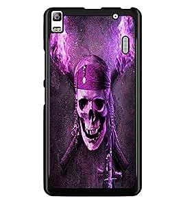 PrintDhaba Pirate Skull D-4844 Back Case Cover for LENOVO A7000 PLUS (Multi-Coloured)