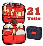 21 teiliges Percussion Set mit Tragetasche und Wandhalterung mit Macaras, Triangel, Becken, Trommel, Schellenringe, Kuhglocke u.v.m.
