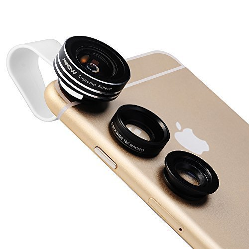 Mpow 3 in 1 Clip-On Staccabile 180° Obiettivo Lente Fish Eye + 0.65X Grandangolare + Lente 10X Micro [ abbinato con Obiettivo Grandangolare] Kit per iPhone 6 / 6 Plus, iPhone 5 5S 4 4S Samsung HTC
