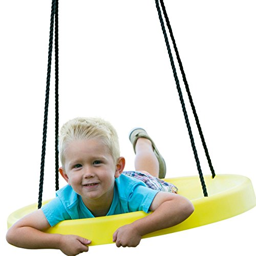 Super Spinner® Swing, FUN! Easy Install for Swing Set or Tree, Best Swing on the Planet! (Yellow)