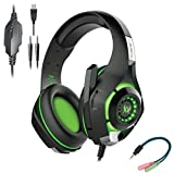 #7: Cosmic Byte Kotion Each GS420 Headphones with Mic, RGB LED lights, Audio Splitter for PS4, Xbox One, Laptop, PC, iPhone and Android Phones (Black/Green)