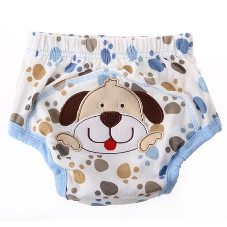 UZZO Cute cartoon Animals Baby Kids Girl Boy Pee Potty Training Pants Washable Cloth Diaper Nappy Underwear(Dog,M) - 1