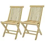 DIVERO 2er-Set Klappstuhl Teakstuhl Gartenstuhl Teak Holz Stuhl für Terrasse Balkon Wintergarten unbehandelt massiv klappbar natur