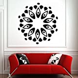 DeStudio Circle Pattern Flower Petals Leaves Wall Decal (Size TINY - 43cms X 43cms & Color GREEN)