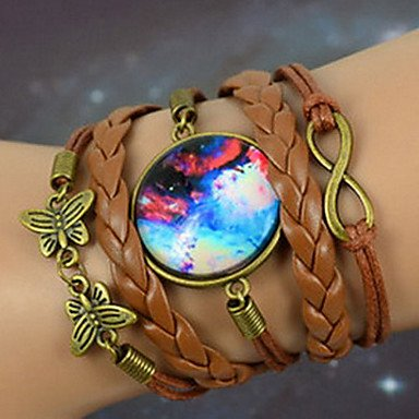 Brown Galaxy Handmade Diy Butterfly Eight Word Starry Sky Time Gem Handmade Twine Brown Alloy Glass Leather Warp Bracelet By Chonlyshop