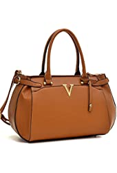 Dasein Faux Leather V Shape Accent Satchel Shoudler Handbag, Tablet, Ipad Bag