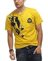 Chlorophile Men's Henley Cotton T-Shirt (Gun_ Mustard Yellow_X-Large)