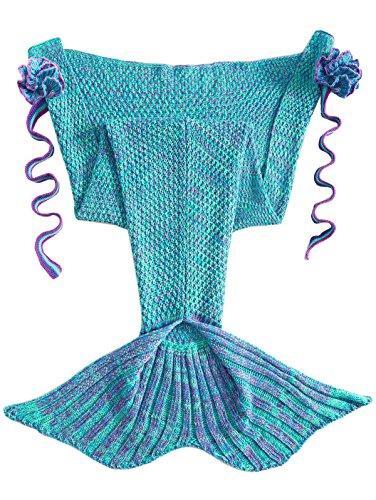 FEESHOW Mermaid Tail Blanket Handcrafted Crochet Knitting Sofa Blanket Rug Soft Sleeping Bag for Small Kids
