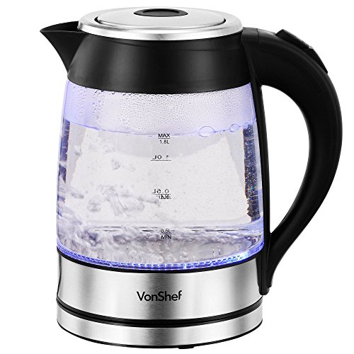 VonShef 1500W 1.8L Illuminating Clear Glass Cordless Jug Kettle (Electric Jug compare prices)