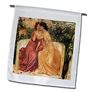 BLN Paintings of Love Fine Art Collection - Sappho and Erinna in a Garden at Mitylene by Simeon Solomon - 12 x 18 inch Garden Flag (fl_127199_1)