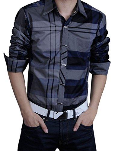 Gillbro uomini casuali camice a maniche lunghe rattoppato griglia Vestito su misura di grandi dimensioni, Marina, XL