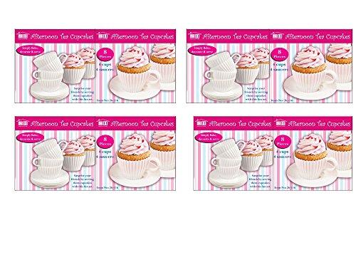 8pièces après-midi Thé Bake et servir Cupcakes Parti Tasse et soucoupe soufflé Cupcake Moules en silicone cas d'anniversaire de mariage Parti Fun Décoration pour gâteau glaçage coloré au désert Coffret cadeau