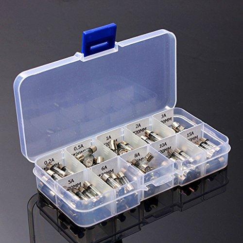 Pixnor 100pz 5x20mm Fast-soffiare il vetro Fusibili colpo rapido auto tubo di vetro Fusibili assortiti Kit Amp 0.2 a 0.5 a 1A 2A 3A 5A 6A 8A 10A 15A