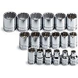 SK 3958 18 Piece 3/8-Inch Drive 12 Point 7-Millimeter to 24-Millimeter Socket Set