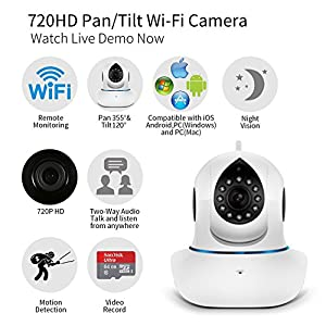 [2016 Newest Version] IP Camera, NexGadget HD WiFi IP Security Camera Surveillance System Sonic Recognition Video Recording P2P Pan Tilt Remote Motion Detect Alert With Two-Way Audio