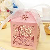 Imported 50x Heart Flower Hollow Out Candy Gift Boxes With Bow Ribbons Decor Pink