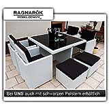 Gartenmöbel PolyRattan Essgruppe Tisch mit 4 x Stuhl & 4 Hocker DEUTSCHE MARKE -- EIGNENE PRODUKTION Garten Möbel...