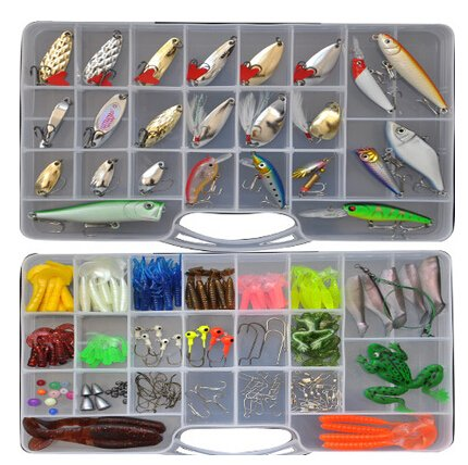 A Whole Set(205 Pcs) Fishing Lure Tackle Kit Minnow VIB Rattlin Crank Popper Pencil Soft Lures Metal Sequins Lures