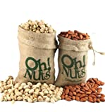 Roasted Pistachios & Almonds in Burlap Duo Gift
