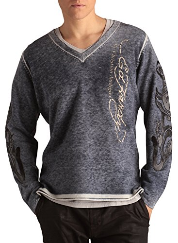 Ed Hardy Mens Love Kills Applique Sweater - Midnig…