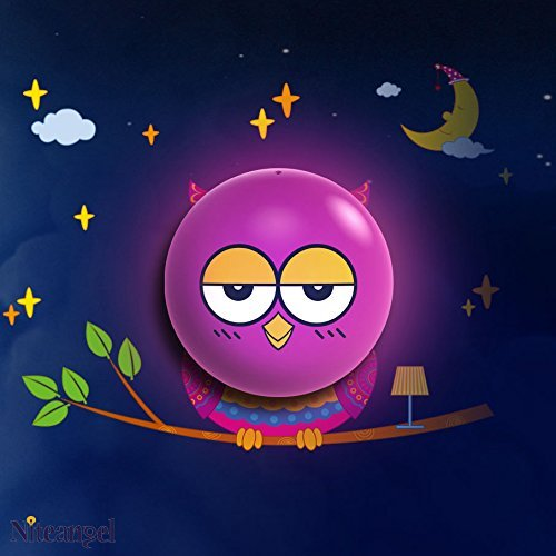 Alisable Cute LED Plastic Wall Lamp/Light with Removable Stickers, Light-sensing Purple Owl, Night Lamp