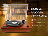 1byone-Belt-Driven-Bluetooth-Turntable-with-Built-in-Stereo-Speaker-Vintage-Style-Record-Player-Vinyl-To-MP3-Recording-Natural-Wood