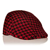 Toddler Hats: Levi's Newsboy Cap Red and Black Houndstooth – 12 – 36 Months (45cm)