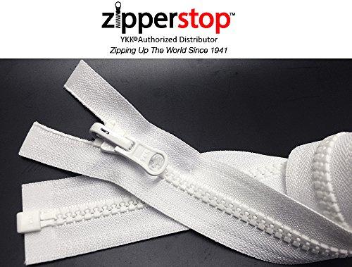 ZipperStop Wholesale YKK® - Vislon Jacket Zipper Reversible Slide YKK® #5 Molded Plastic Separating End - Color WHITE Custom Length (20 Inches)