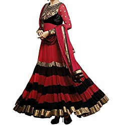 Maruti Creation Women's Georgette Semi-stitched Anarkali Suit Dress Material (MC1030_FREE_SIZE_Red)