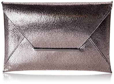 BCBG Harlow Signature Envelope Metallic Clutch,Silver,One Size