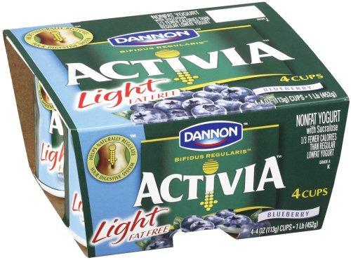 Dannon Activia Light Yogurt, Blueberry, 4 pk, 4 oz