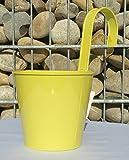 Hängetopf gelb Pflanztopf mit Haken Übertopf Metall zum Hängen 50059