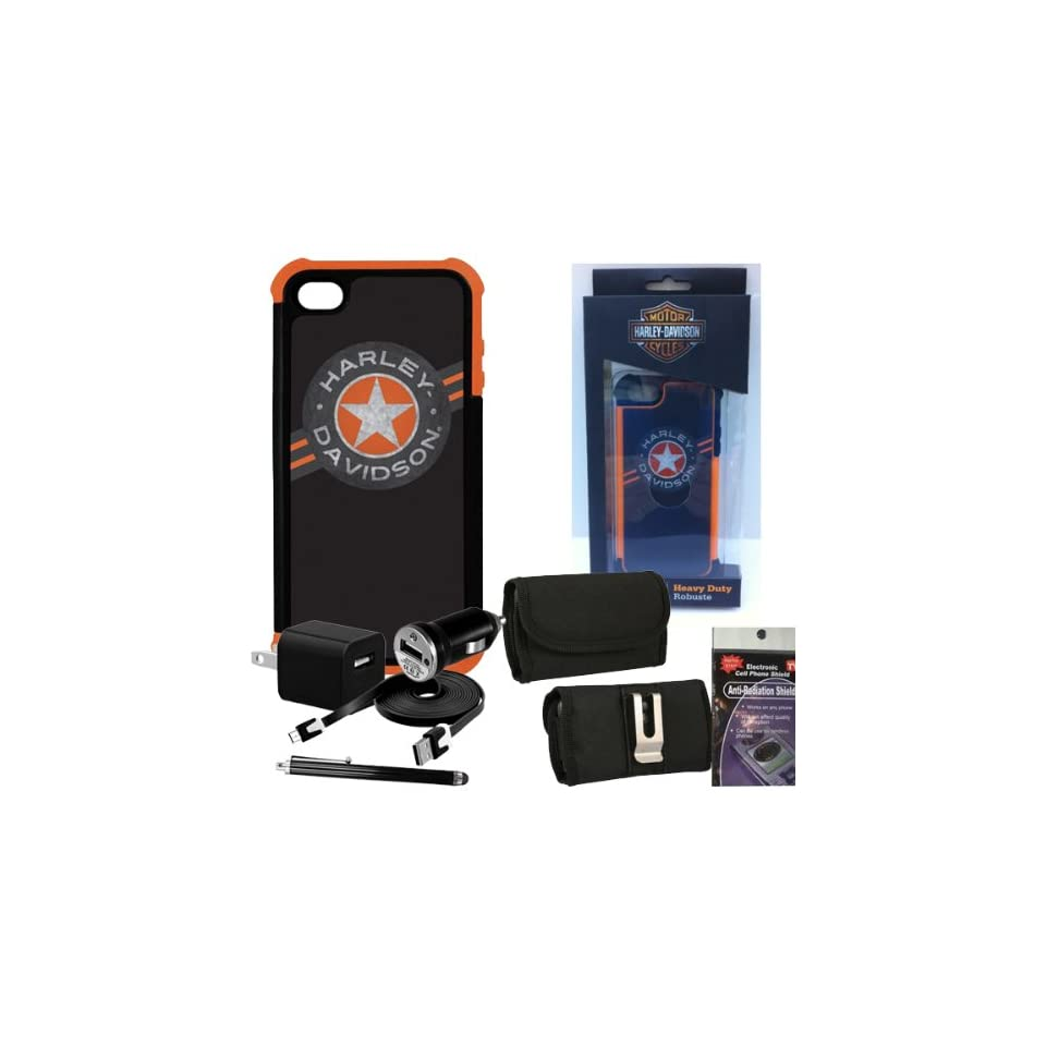 Harley Davidson Rugged Wrap Around Cover 07457 for iPhone 5s, 5. Comes with, USB Car Charger, USB House Charger, Metal Clip Horizontal Velcro Case with Belt Loop, Stylus Pen and Radiation Shield.